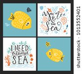 vector sea cards set with... | Shutterstock .eps vector #1013552401