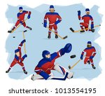 a set of ice hockey players in...   Shutterstock .eps vector #1013554195