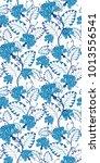 blue oriental seamless vector... | Shutterstock .eps vector #1013556541