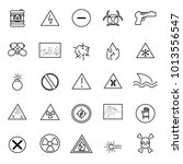warning and hazard icons set...   Shutterstock .eps vector #1013556547