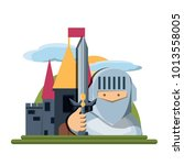 medieval castle icon image | Shutterstock .eps vector #1013558005