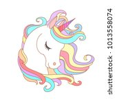 White Unicorn vector illustration for children design. Rainbow hair. Isolated. Cute fantasy animal.