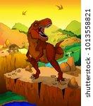 cute cartoon tyrannosaurus with ... | Shutterstock .eps vector #1013558821