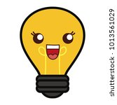 kawaii light bulb icon | Shutterstock .eps vector #1013561029