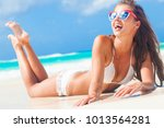 woman in bikini and straw hat... | Shutterstock . vector #1013564281