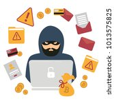 hacker thief with notebook and... | Shutterstock .eps vector #1013575825