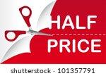 half price with red scissor ...   Shutterstock .eps vector #101357791