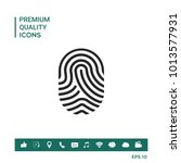 fingerprint. scanned finger icon | Shutterstock .eps vector #1013577931