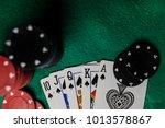 poker hands   royal flush 3....   Shutterstock . vector #1013578867