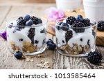 healthy breakfast with homemade ... | Shutterstock . vector #1013585464