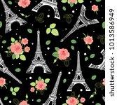 vector black pink eifel tower... | Shutterstock .eps vector #1013586949