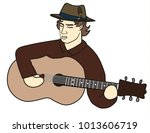 musician in a hat playing... | Shutterstock .eps vector #1013606719