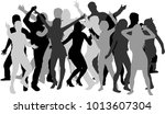 dancing people silhouettes.... | Shutterstock .eps vector #1013607304