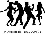 dancing people silhouettes.... | Shutterstock .eps vector #1013609671