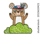 grated ethnic bear animal in... | Shutterstock .eps vector #1013610421