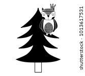 silhouette ethnic owl animal in ... | Shutterstock .eps vector #1013617531