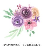 watercolor flowers bouquet... | Shutterstock . vector #1013618371