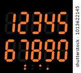 orange digital numbers on black ... | Shutterstock .eps vector #1013622145