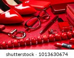 red woman accessories  jewelry  ... | Shutterstock . vector #1013630674