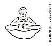 yoga pose illustration on white ...   Shutterstock .eps vector #1013640145