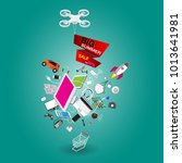 isometric big summer sale...   Shutterstock .eps vector #1013641981