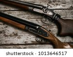 two old antique shotguns rifle | Shutterstock . vector #1013646517