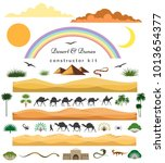 desert game set. vector cartoon ... | Shutterstock .eps vector #1013654377
