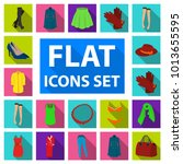 women's clothing flat icons in... | Shutterstock . vector #1013655595