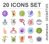 types of funny microbes cartoon ... | Shutterstock . vector #1013657101