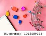 minimal shoping online concept  ... | Shutterstock . vector #1013659135