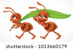 two cute cartoon ant carry... | Shutterstock .eps vector #1013660179