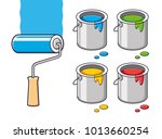 blue paint roller brush with... | Shutterstock .eps vector #1013660254