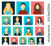 avatar and face flat icons in... | Shutterstock . vector #1013662504