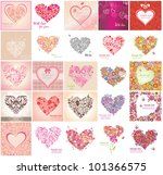 greeting card with floral heart ... | Shutterstock .eps vector #101366575