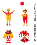 clown icon set. cartoon set of... | Shutterstock .eps vector #1013667949