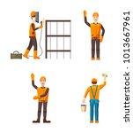 builder icon set. cartoon set... | Shutterstock .eps vector #1013667961