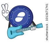 with guitar status coin mascot... | Shutterstock .eps vector #1013671741