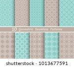 set of seamless line patterns.... | Shutterstock .eps vector #1013677591