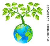 Concept illustration of planet earth world globe with a tree growing on top. Any number of green environmental or business growth interpretations. - stock photo