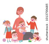 a woman clip holding a baby   Shutterstock .eps vector #1013700685