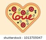 love for pizza heart shape...   Shutterstock .eps vector #1013705047