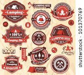 vintage camping labels set | Shutterstock .eps vector #101370769