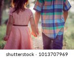back of boy and girl walking... | Shutterstock . vector #1013707969