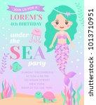 cute mermaid and marine life... | Shutterstock .eps vector #1013710951