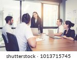 group of young business team... | Shutterstock . vector #1013715745