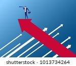 businessman stand on arrow... | Shutterstock .eps vector #1013734264