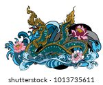 thai traditional tattoo design. ... | Shutterstock .eps vector #1013735611