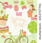 spring background with... | Shutterstock . vector #1013737741