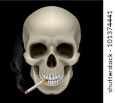 Human Skull with a cigarette. Illustration on black background - stock vector
