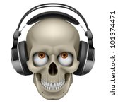 Raster version. Human skull with eye and music headphones. Illustration on white - stock photo